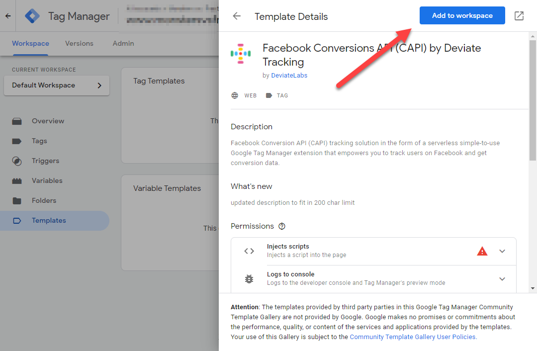 Add Deviate Tracking to GTM workspace