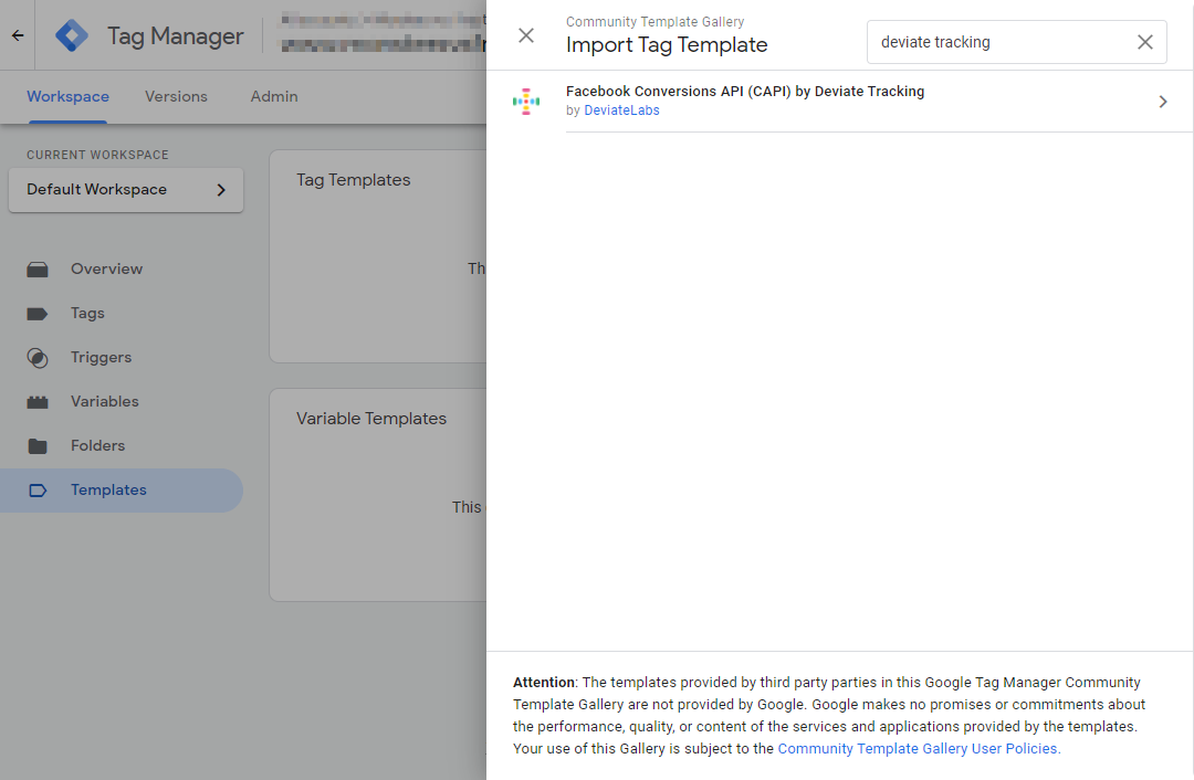 Import Deviate Tracking GTM Tag Template